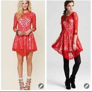 Free People floral leaf mesh lace 3/4 slv dress